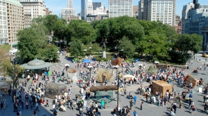 Sukkah City finalists spread out across New York City's Union Square Park in 2010.