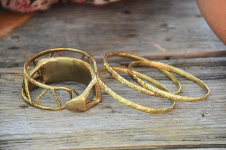 Nettie Kent brass bangles