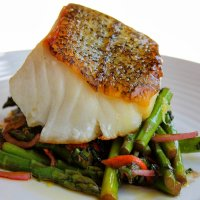 Eat Seasonally:  Sea Bass with Roasted Asparagus and Lemon Caper Sauce