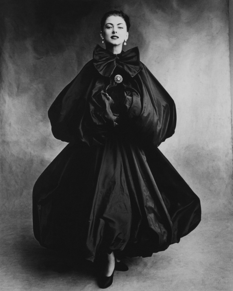 Cristobal Balenciaga double-balloon black taffeta evening cape
