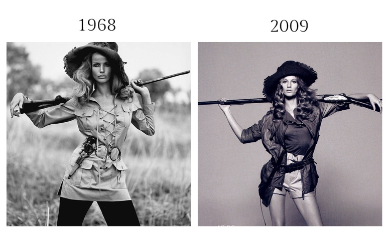 Left photo by Franco Rubartelli, right photo Peter Lindbergh