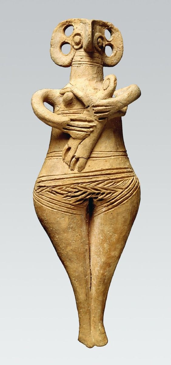 Terracotta female figure holding infant. Enkomi, Cyprus, 1450BC-1200BC
